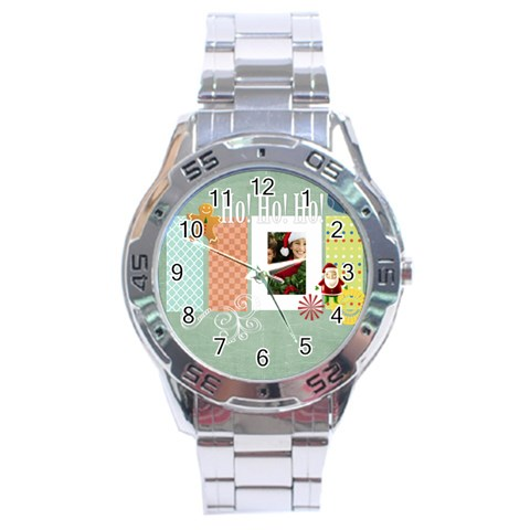 Christmas By Merry Christmas   Stainless Steel Analogue Watch   7ots0qct8a7v   Www Artscow Com Front