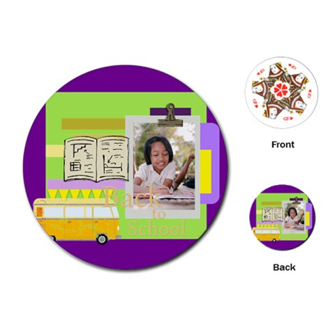 Back To School By School   Playing Cards (round)   1pqrrt3eqxpg   Www Artscow Com Front
