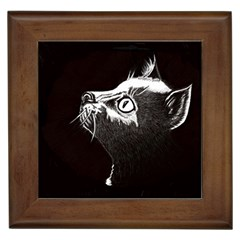 Shadow Cat Framed Ceramic Tile by CMCreations