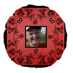 Art Nouveau Red Round Cushion By Catvinnat   Large 18  Premium Round Cushion    Jo1ex5qtsr8m   Www Artscow Com Front