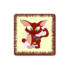 Cute cat Magnet (Square) by zooicidal