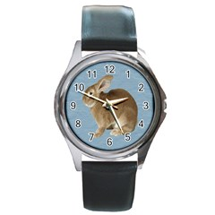 Cute Bunny Round Metal Watch (silver Rim) by mysticalimages