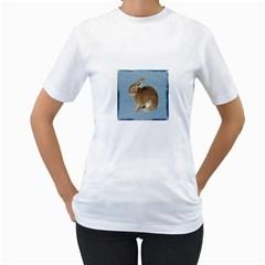 Cute Bunny Womens  T Shirt (white)