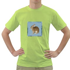 Cute Bunny Mens  T Shirt (green)