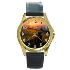 Evening Rest Round Metal Watch (gold Rim)  by mysticalimages