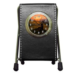 Evening Rest Stationery Holder Clock by mysticalimages