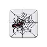 Spider in web Rubber Square Coaster (4 pack)