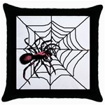 Spider in web Throw Pillow Case (Black)