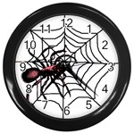 Spider in web Wall Clock (Black)