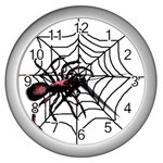 Spider in web Wall Clock (Silver)