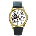 Spider in web Round Gold Metal Watch