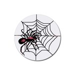 Spider in web Rubber Round Coaster (4 pack)