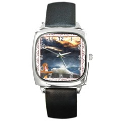 Stormy Twilight [framed] Square Leather Watch by mysticalimages