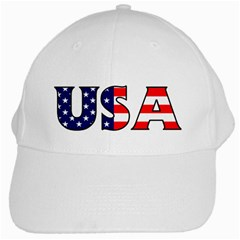 Usa White Baseball Cap by worldbanners