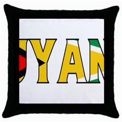 Guyana Black Throw Pillow Case