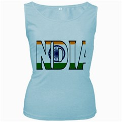 India Womens  Tank Top (baby Blue) by worldbanners