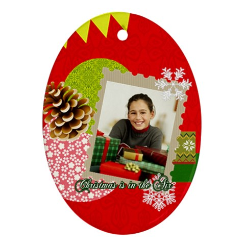 Christmas By Merry Christmas   Ornament (oval)   Rkyl5fxib97z   Www Artscow Com Front