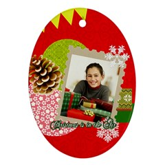 Christmas By Merry Christmas   Oval Ornament (two Sides)   0lxy7j33nge4   Www Artscow Com Front