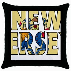 New Jersey Black Throw Pillow Case by worldbanners