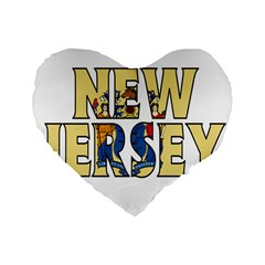 New Jersey 16  Premium Heart Shape Cushion  by worldbanners