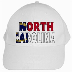 N Carolina White Baseball Cap by worldbanners