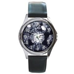 15661082 Shiny Diamonds Background Round Metal Watch (silver Rim)