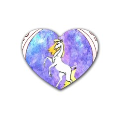 Framed Unicorn Drink Coasters (heart) by mysticalimages