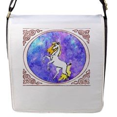 Framed Unicorn Flap Closure Messenger Bag (small) by mysticalimages