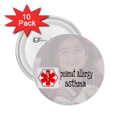 Allergy Alert  Button By Jen   2 25  Button (10 Pack)   Nw535of58s8d   Www Artscow Com Front