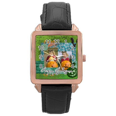 Helloween By Helloween   Rose Gold Leather Watch    Tp16t1w9etnf   Www Artscow Com Front