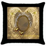 Two Hearts Beat as One  Throw Pillow case - Throw Pillow Case (Black)