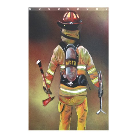 Firefighter Curtain By William   Shower Curtain 48  X 72  (small)   3m6tyz4fho4f   Www Artscow Com 42.18 x64.8 Curtain