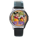 helloween fall - Round Metal Watch