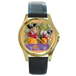 helloween fall - Round Gold Metal Watch