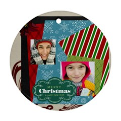 Merry Christmas By Merry Christmas   Round Ornament (two Sides)   Huzr4ukkh5ei   Www Artscow Com Front