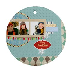 Merry Christmas By Merry Christmas   Round Ornament (two Sides)   Kpxysl5st9c1   Www Artscow Com Front