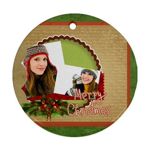 Merry Christmas By Merry Christmas   Ornament (round)   72k0f2vqjcpa   Www Artscow Com Front