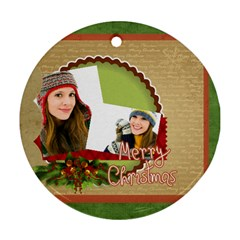 Merry Christmas By Merry Christmas   Round Ornament (two Sides)   Ev4z6nvroc42   Www Artscow Com Back
