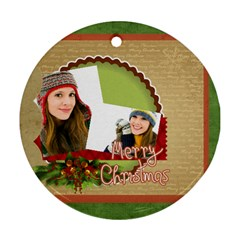 Merry Christmas By Merry Christmas   Round Ornament (two Sides)   19wdlnkywgfd   Www Artscow Com Back