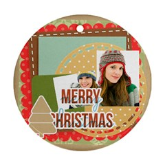 Merry Christmas By Merry Christmas   Round Ornament (two Sides)   8vzweyuh5rhf   Www Artscow Com Back
