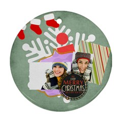 Merry Christmas By Merry Christmas   Round Ornament (two Sides)   Vqnjrbn07kx2   Www Artscow Com Back