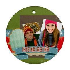 Merry Christmas By Merry Christmas   Round Ornament (two Sides)   J3hw1lwf70xg   Www Artscow Com Front