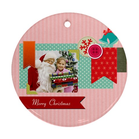 Merry Christmas By Merry Christmas   Ornament (round)   9aglv26hqe1y   Www Artscow Com Front