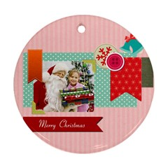 Merry Christmas By Merry Christmas   Round Ornament (two Sides)   Cuc5ttix0guy   Www Artscow Com Front