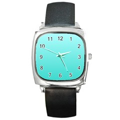 Celeste To Turquoise Gradient Square Leather Watch by BestCustomGiftsForYou