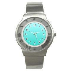 Celeste To Turquoise Gradient Stainless Steel Watch (unisex) by BestCustomGiftsForYou