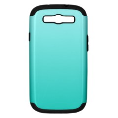 Celeste To Turquoise Gradient Samsung Galaxy S Iii Hardshell Case (pc+silicone) by BestCustomGiftsForYou