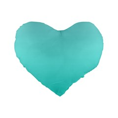 Celeste To Turquoise Gradient 16  Premium Heart Shape Cushion  by BestCustomGiftsForYou