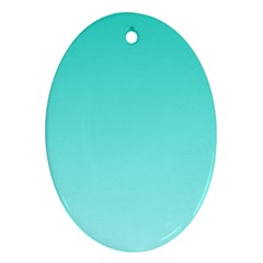 Turquoise To Celeste Gradient Oval Ornament by BestCustomGiftsForYou