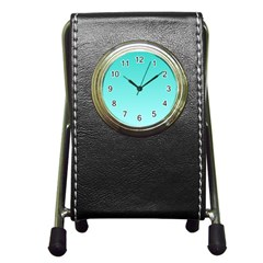 Turquoise To Celeste Gradient Stationery Holder Clock by BestCustomGiftsForYou
